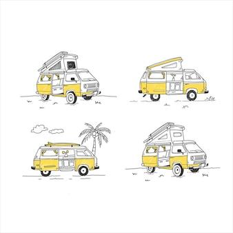 Camping van été vecteur dessiné à la main avec style cartoon