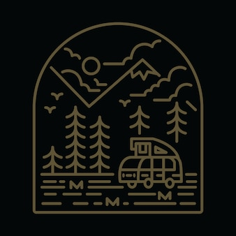 Camping van nature mountain graphic illustration
