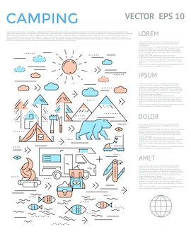 Camping vertical infographique