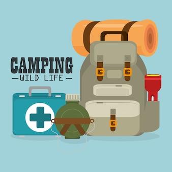 Camping vie sauvage avec équipement