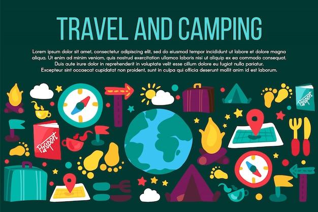 Camping et voyage bannière plate avec fond