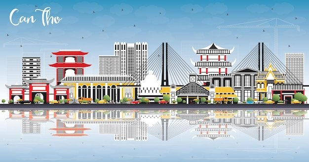 Can tho vietnam city skyline avec bâtiments gris, ciel bleu et reflets. illustration vectorielle. concept de voyage d'affaires et de tourisme avec architecture historique. can tho cityscape avec points de repère.
