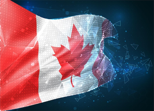 Canada, drapeau vectoriel, objet 3d abstrait virtuel de polygones triangulaires sur fond bleu