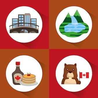 Canada, ensemble, montreal, ville, crêpes, castor, forêt, lac