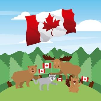 Canada jour bois animaux grande vague drapeau vector illustration