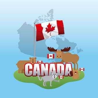 Canada jour grunge carte herbe animaux tenant des drapeaux célébrer