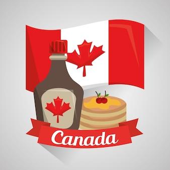Canada pays nourriture crêpes érable sirop drapeau national