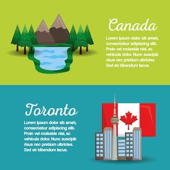 Canada toronto drapeau montagne lac bannières conception