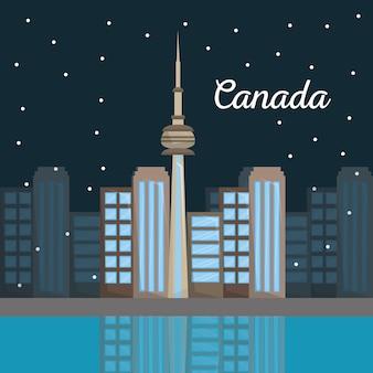 Canada toronto ville architecture horizon de nuit