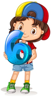 Canadian girl wearing cap holding math numéro six