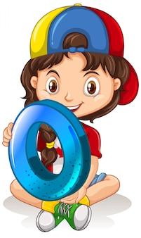 Canadian girl wearing cap holding math numéro zéro