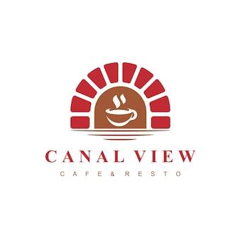 Canal view cafe logo avec symbole de pont de brique