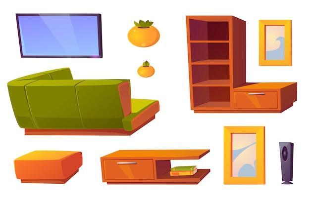 Canapé d'angle, télévision et étagères pour le salon