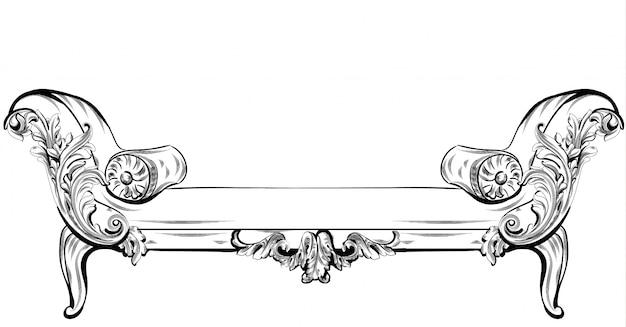Canapé ou banc avec riche éléments d'ornements baroques vector. style victorien impérial royal