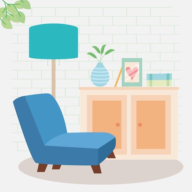 Canapé bleu dans la scène du salon