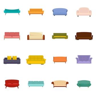 Canapé chaise chambre canapé icônes set vector isolé
