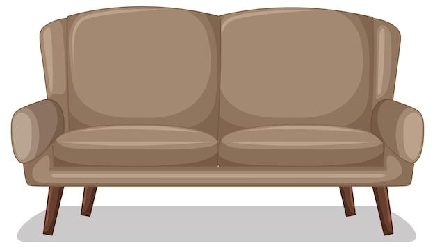 Canapé deux places beige isolé sur fond blanc
