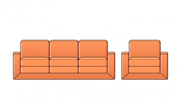 Canapé, fauteuil, icône de canapé. illustration de contour.