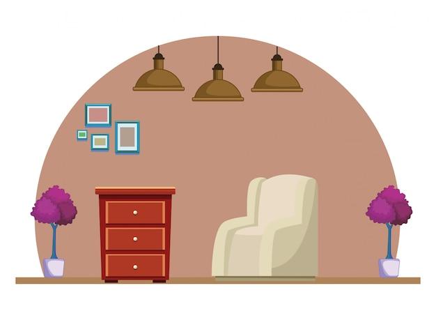 Canapé fauteuil et tiroir en bois