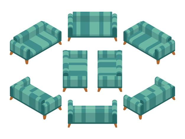 Canapé isométrique avec revêtement vert et rayé