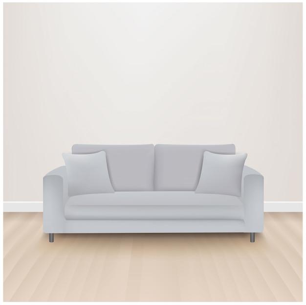 Canapé-lit avec gris isolé