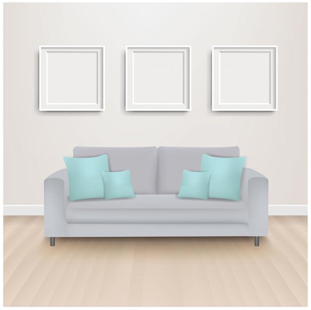 Canapé-lit avec oreillers à la menthe et image
