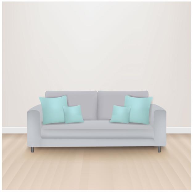 Canapé-lit avec des oreillers à la menthe