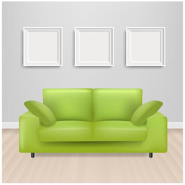 Canapé-lit vert avec cadre photo et gris