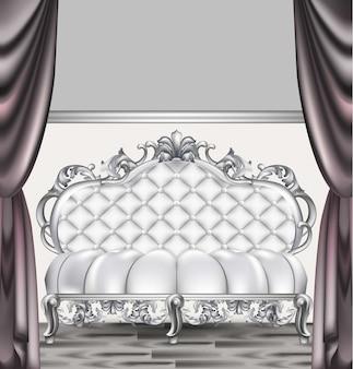 Canapé de luxe baroque. meubles de style impérial riche. dessins 3d réalistes de vecteur