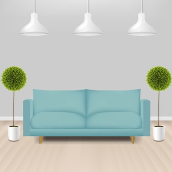 Canapé menthe avec lampes