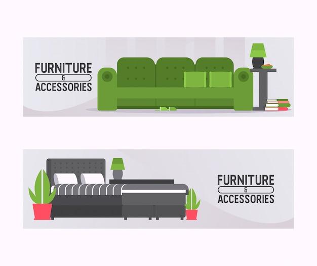 Canapé mobilier canapé siège meublé design d'intérieur de salon à la maison appartement illustration