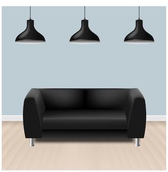 Canapé noir avec lamelles avec fond gris avec filet dégradé.