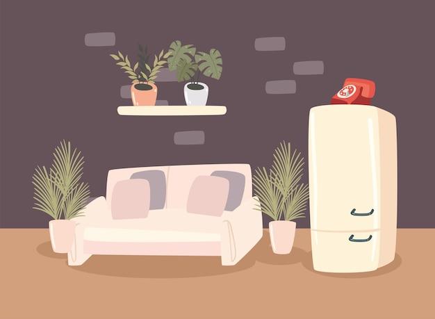 Canapé et réfrigérateur
