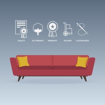 Canapé rouge et icônes de service définies dans un design plat.