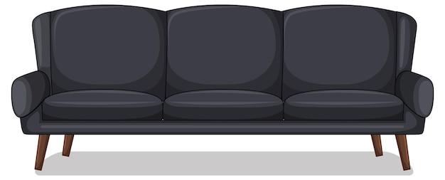 Canapé trois places noir isolé sur fond blanc