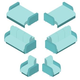 Canapé turquoise isométrique. chaise bleu clair. le canapé-lit pour dormir. mobilier confortable pour la maison. élément de l'intérieur. la conception des pièces de la maison. illustration vectorielle.