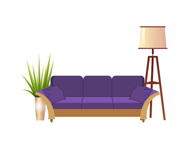 Canapé violet réaliste avec lampadaire et illustration intérieure de pot de fleurs