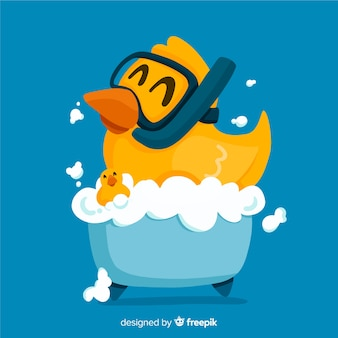Canard en caoutchouc jaune plat dans la baignoire