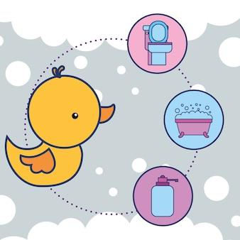 Canard en caoutchouc jouet toilette baignoire et savon liquide