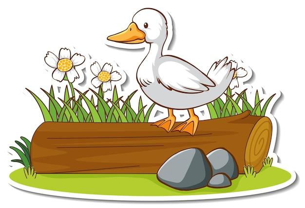 Un canard debout sur un autocollant de journal