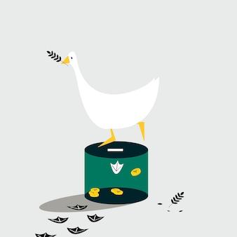 Canard debout sur la boîte de dons