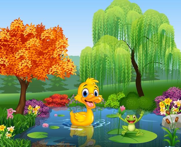 Canard de dessin animé avec une grenouille heureuse