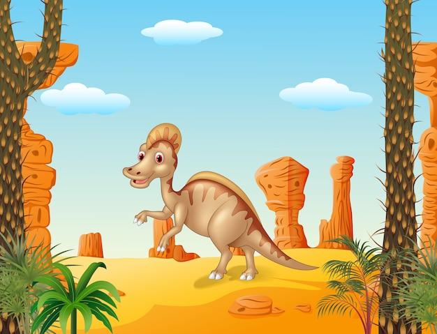 Canard facturé hadrosaur dans le contexte préhistorique