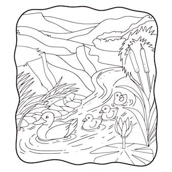 Canard de mère d'illustration de bande dessinée avec ses poussins nageant dans le livre ou la page de rivière pour des enfants noirs et blancs