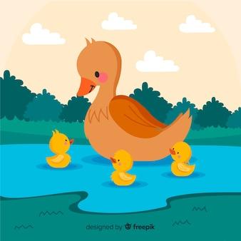 Canard mère plate dans l'eau