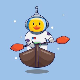 Canard mignon astronaute pagayer bateau dans l'illustration vectorielle de dessin animé espace. concept de design gratuit isolé vecteur premium