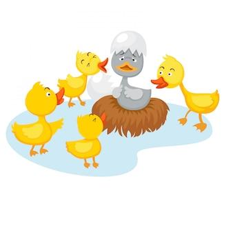 Canard moche conte de fées, illustration vectorielle.