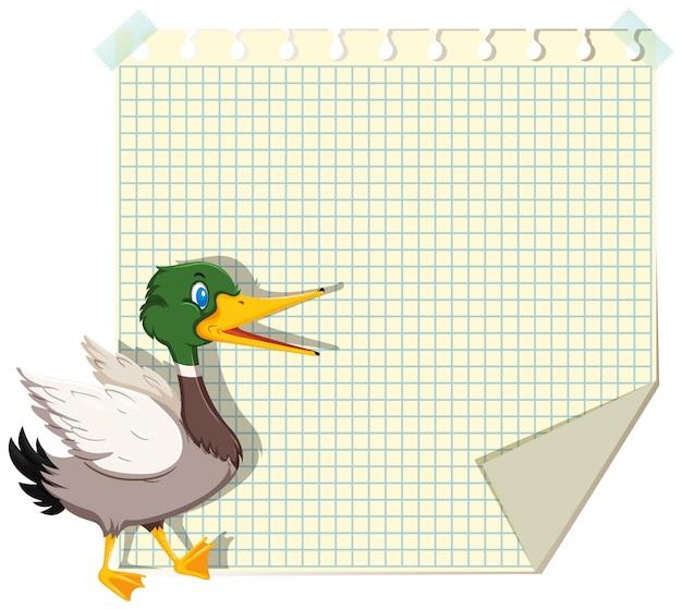 Canard sur modèle de note