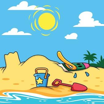 Canard se détendre en illustration de dessin animé de plage