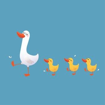 Canard et ses canetons marchant isolés sur bleu